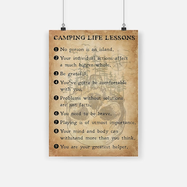 Camping life lessons poster 2