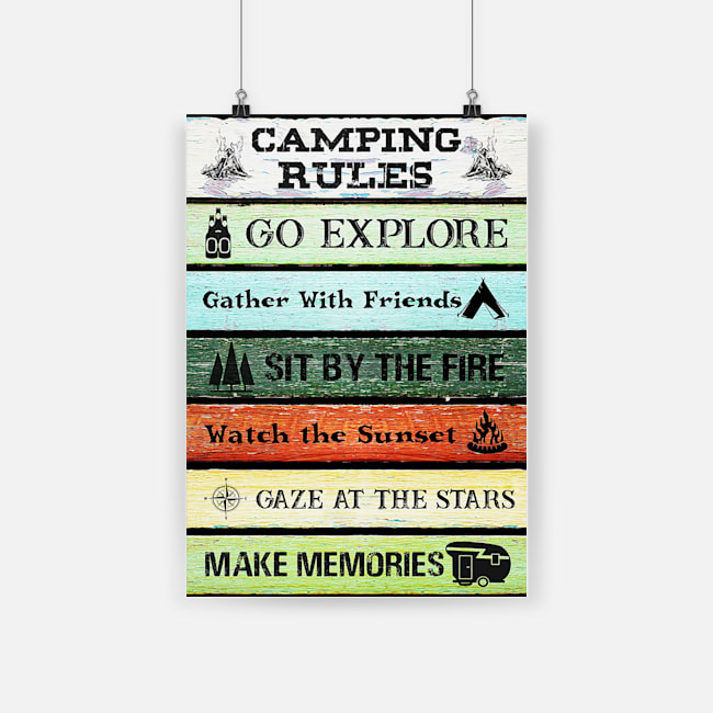 Camping rules go explore gather with friends poster 3