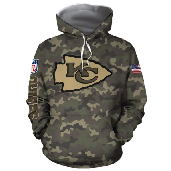 Kansas city chiefs camo full printing hoodie