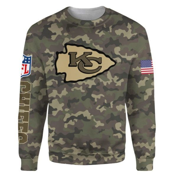 Kansas city chiefs camo full printing sweatshirt