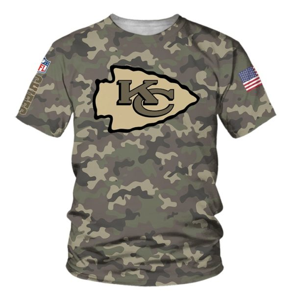 Kansas city chiefs camo full printing tshirt