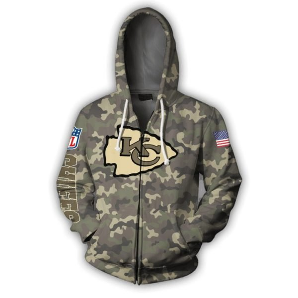 Kansas city chiefs camo full printing zip hoodie