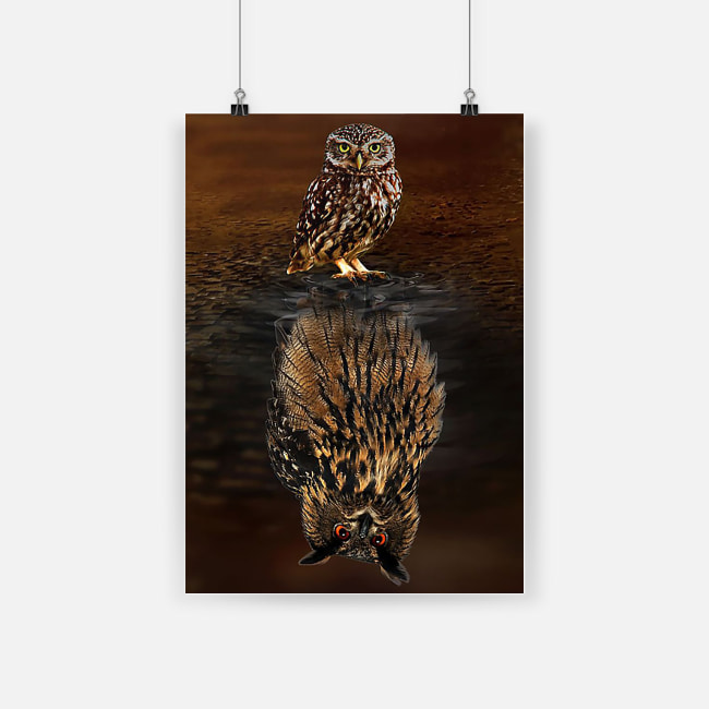 Owl water reflection poster 2