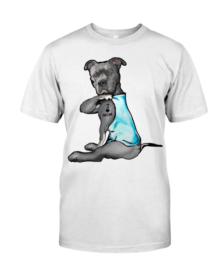 Pitbull i love mom guy shirt