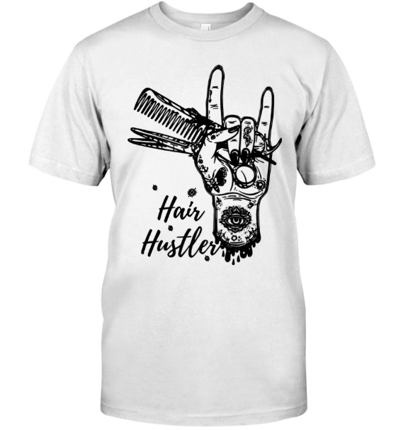 Sign language hair hustler guy shirt