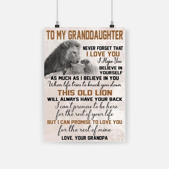 To my granddaughter never forget that i love you lion poster 3