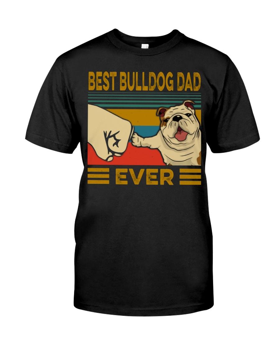 Vintage best bulldog dad ever guy shirt