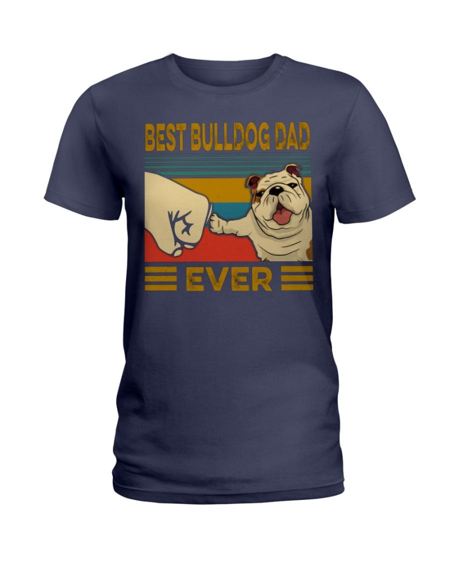 Vintage best bulldog dad ever lady shirt