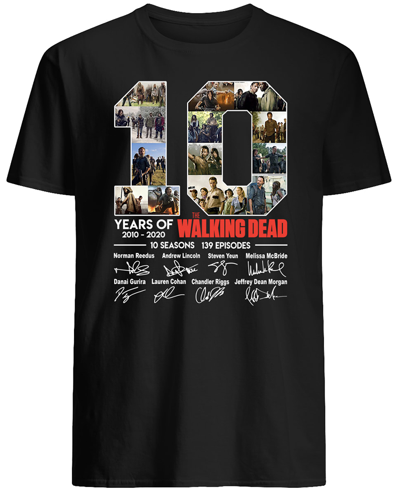 10 years of the walking dead signatures mens shirt