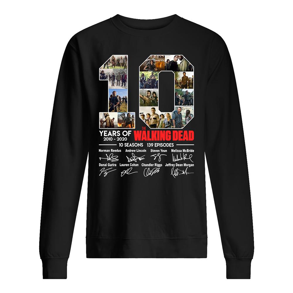 10 years of the walking dead signatures sweatshirt