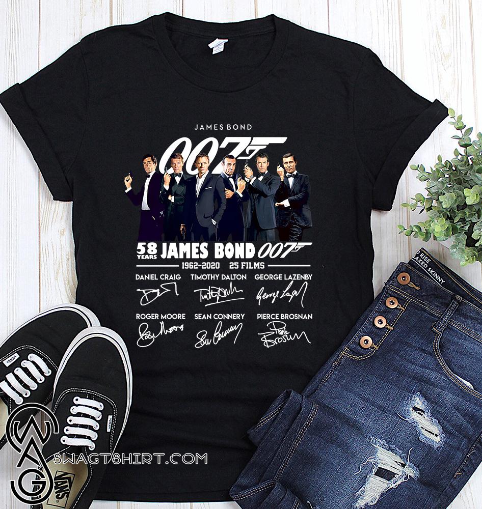 58 years of 007 james bond 1962-2020 signatures shirt