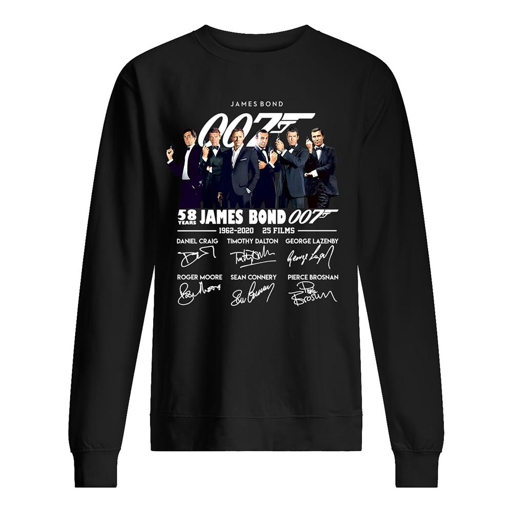 58 years of 007 james bond 1962-2020 signatures sweatshirt