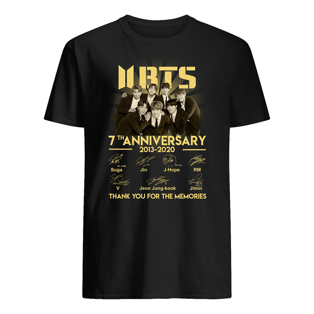 BTS 7th anniversary 2013-2020 thank you for the memories signatures mens shirt