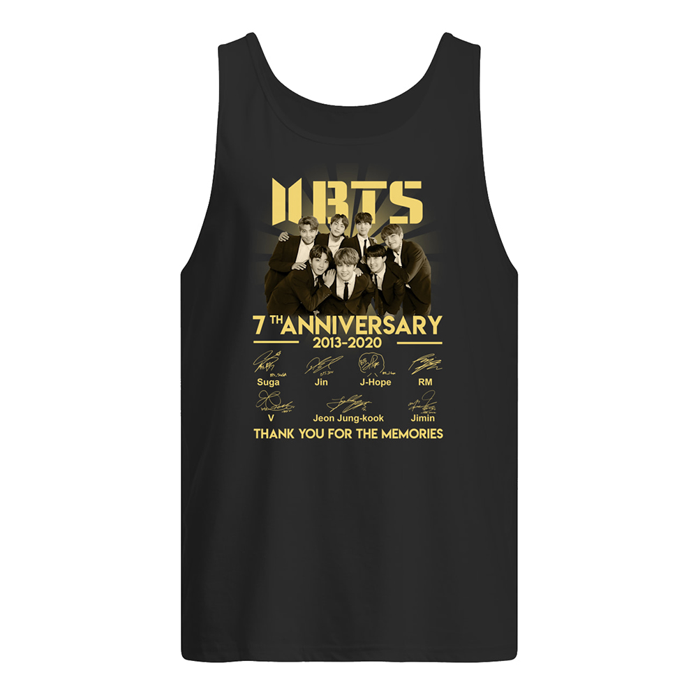 BTS 7th anniversary 2013-2020 thank you for the memories signatures tank top