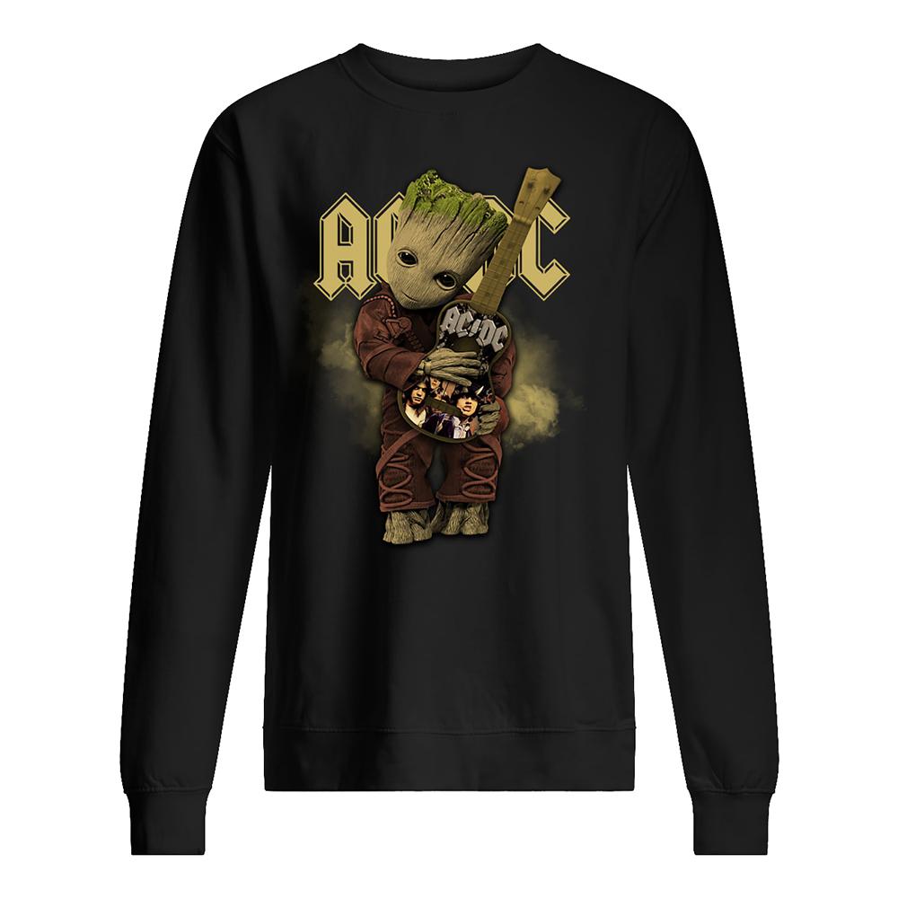 Baby groot hug acdc rock band sweatshirt