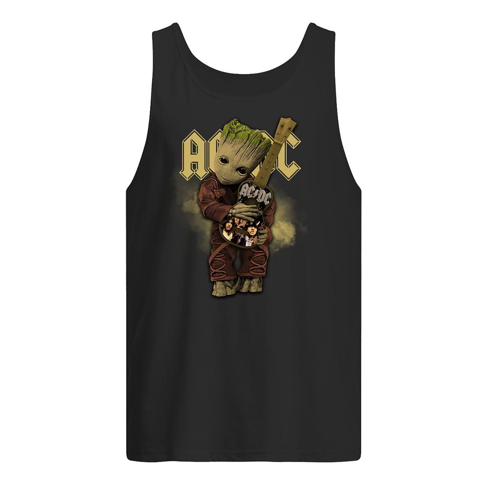 Baby groot hug acdc rock band tank top