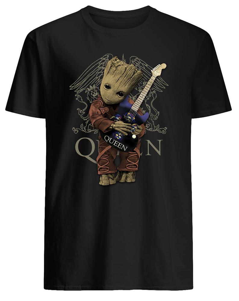 Baby groot hug queen rock band mens shirt