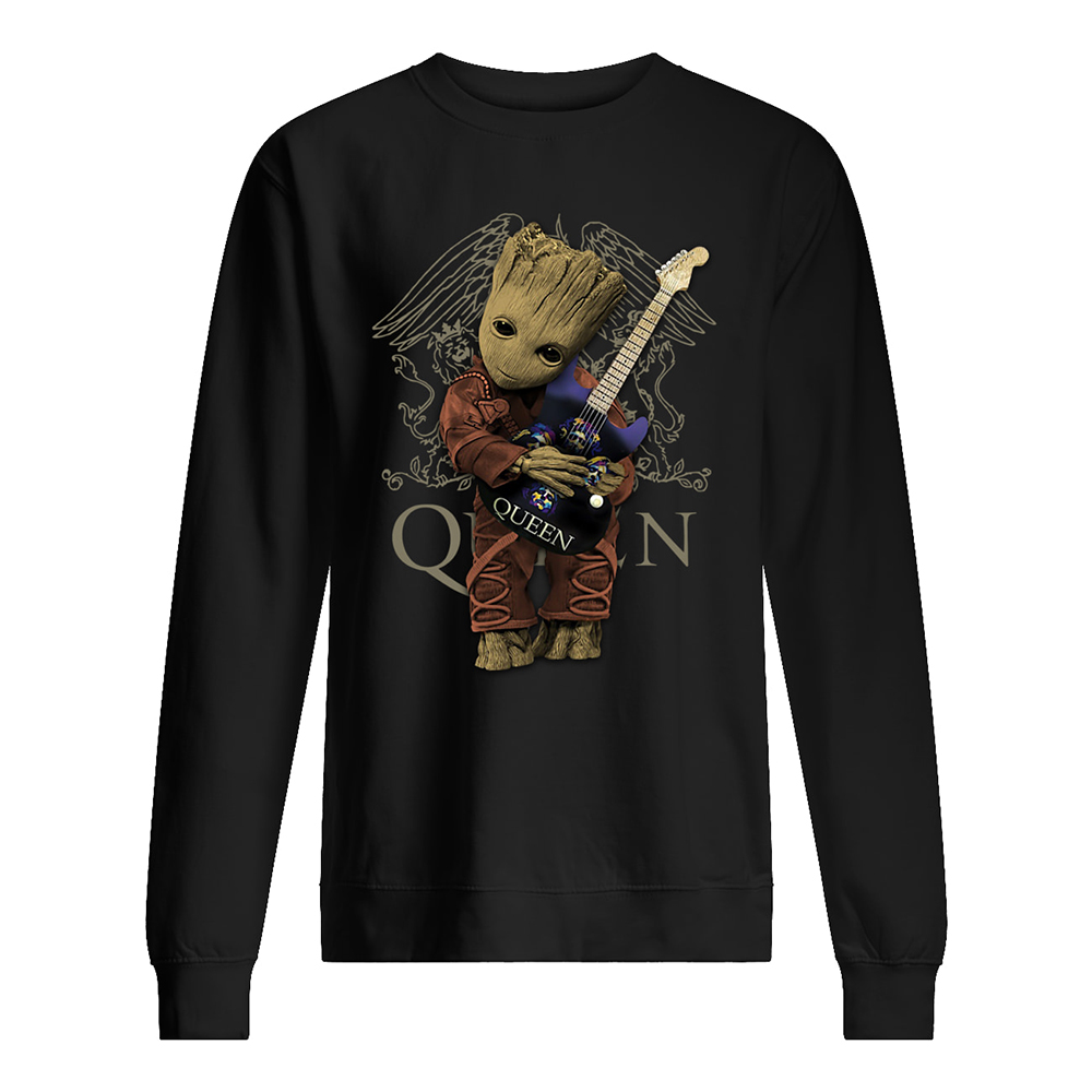 Baby groot hug queen rock band sweatshirt