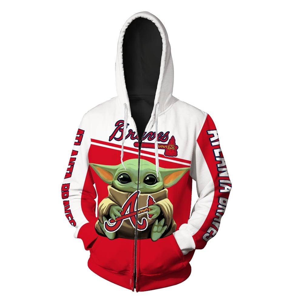 Baby yoda hold atlanta braves full printing zip hoodie