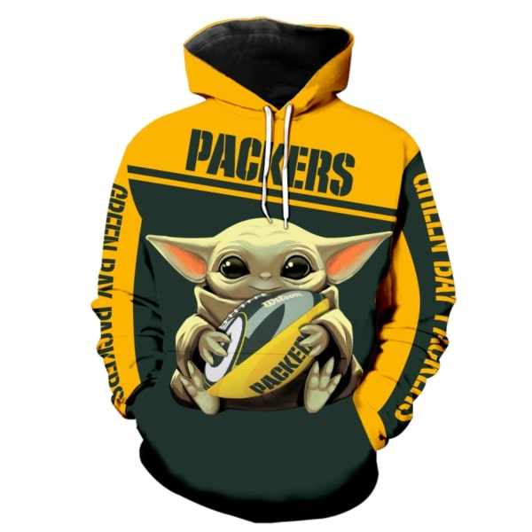 Baby yoda hold green bay packers full printing hoodie