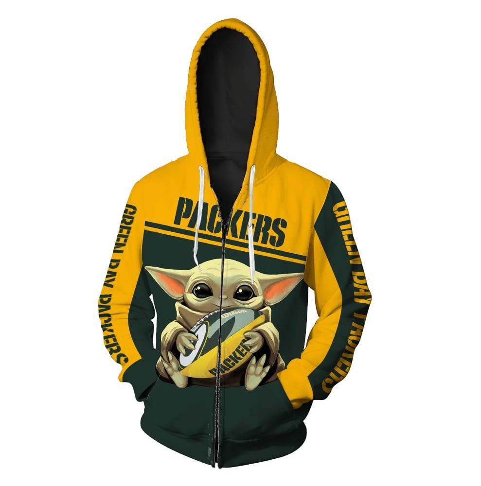 Baby yoda hold green bay packers full printing zip hoodie