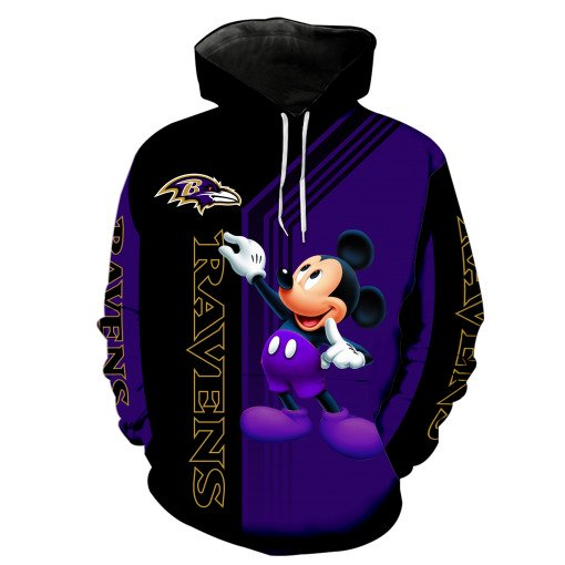 Baltimore ravens mickey mouse all over print hoodie