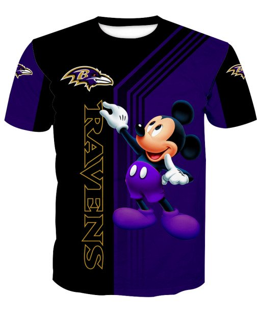 Baltimore ravens mickey mouse all over print tshirt