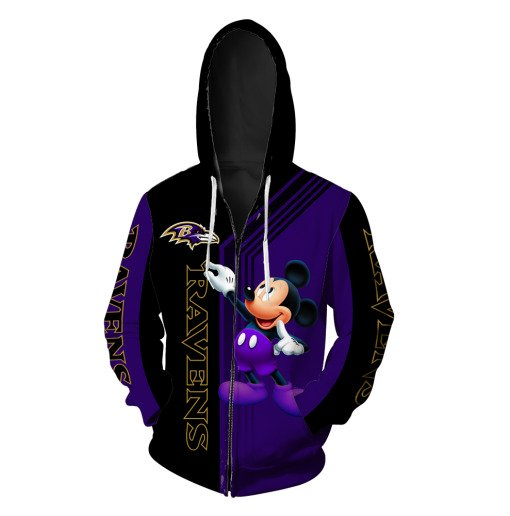 Baltimore ravens mickey mouse all over print zip hoodie