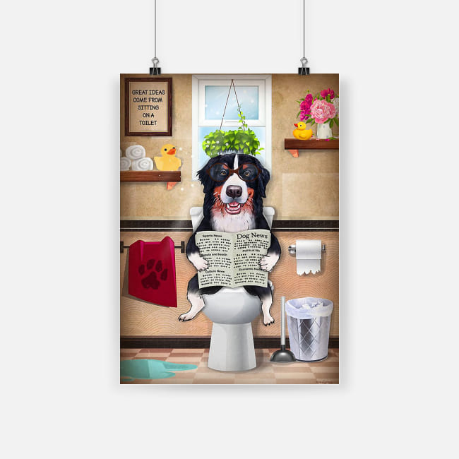 Bathroom wall art border collie sitting on toilet and reading poster 1