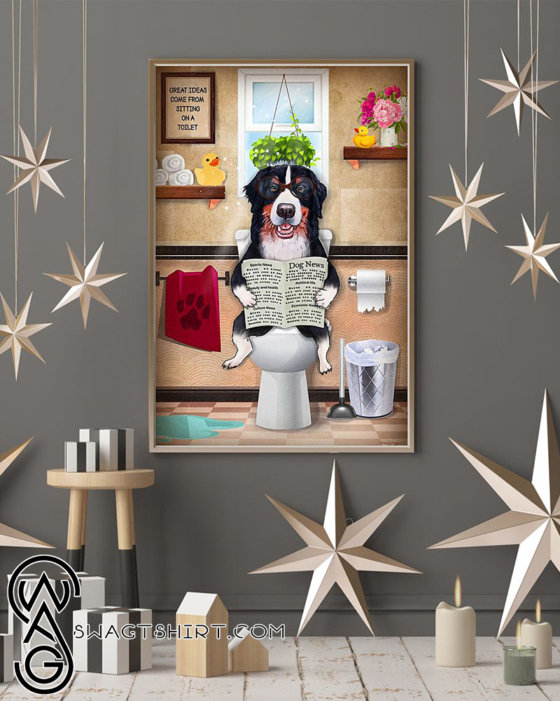 Bathroom wall art border collie sitting on toilet and reading poster