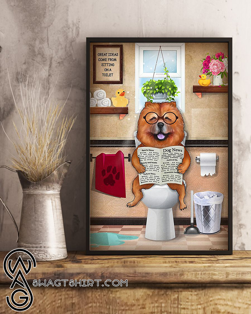 Bathroom wall art chow chow sitting on toilet and reading poster