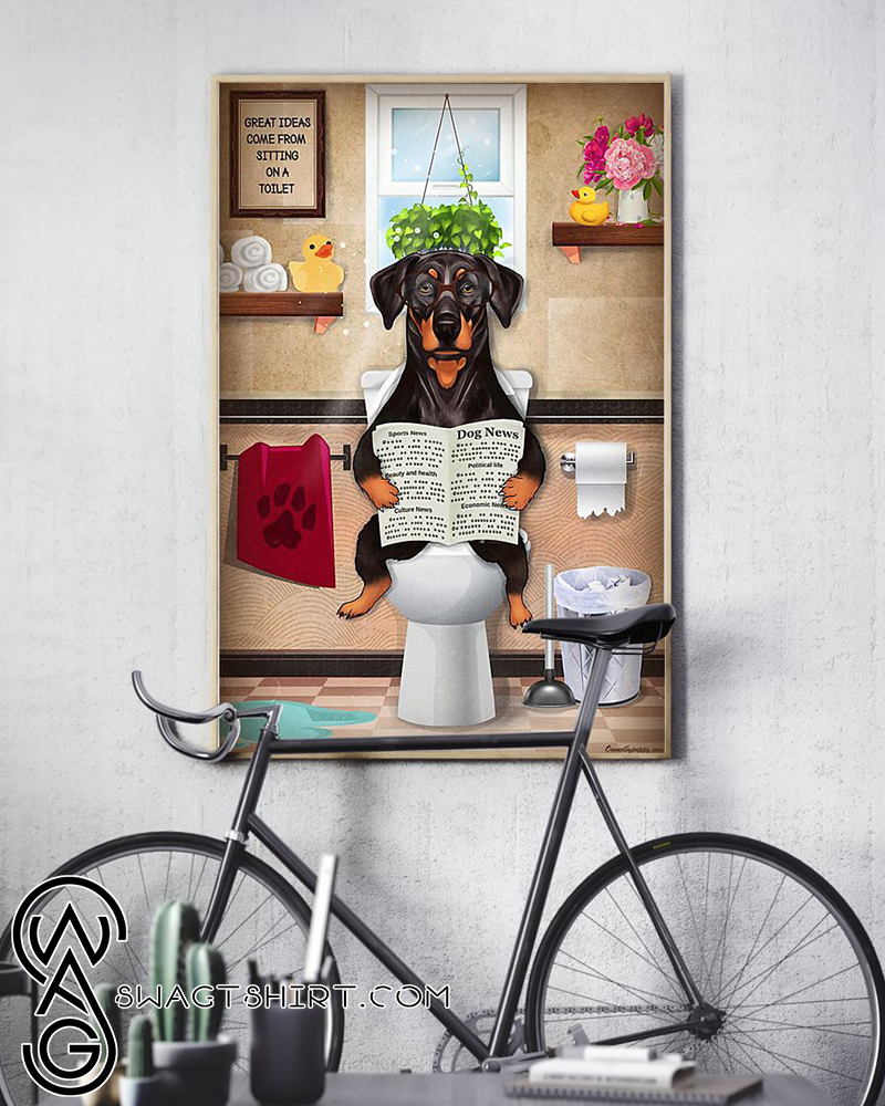 Bathroom wall art doberman puppy sitting on toilet and reading poster