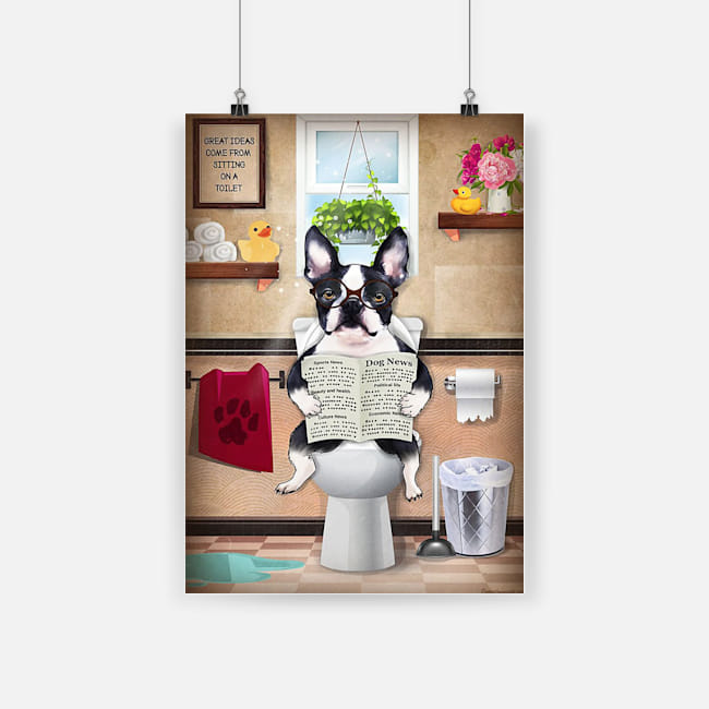 Bathroom wall art french bulldog sitting on toilet and reading poster 2