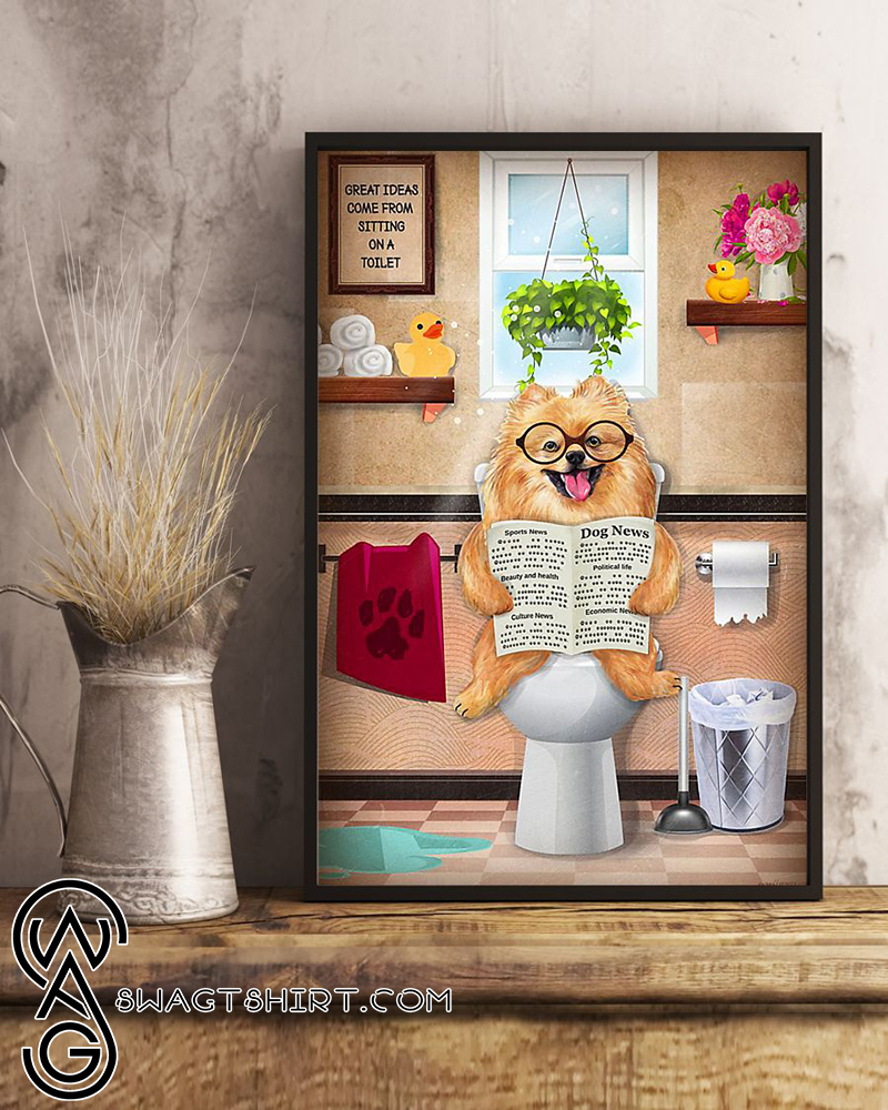 Bathroom wall art pomeranian sitting on toilet and reading poster
