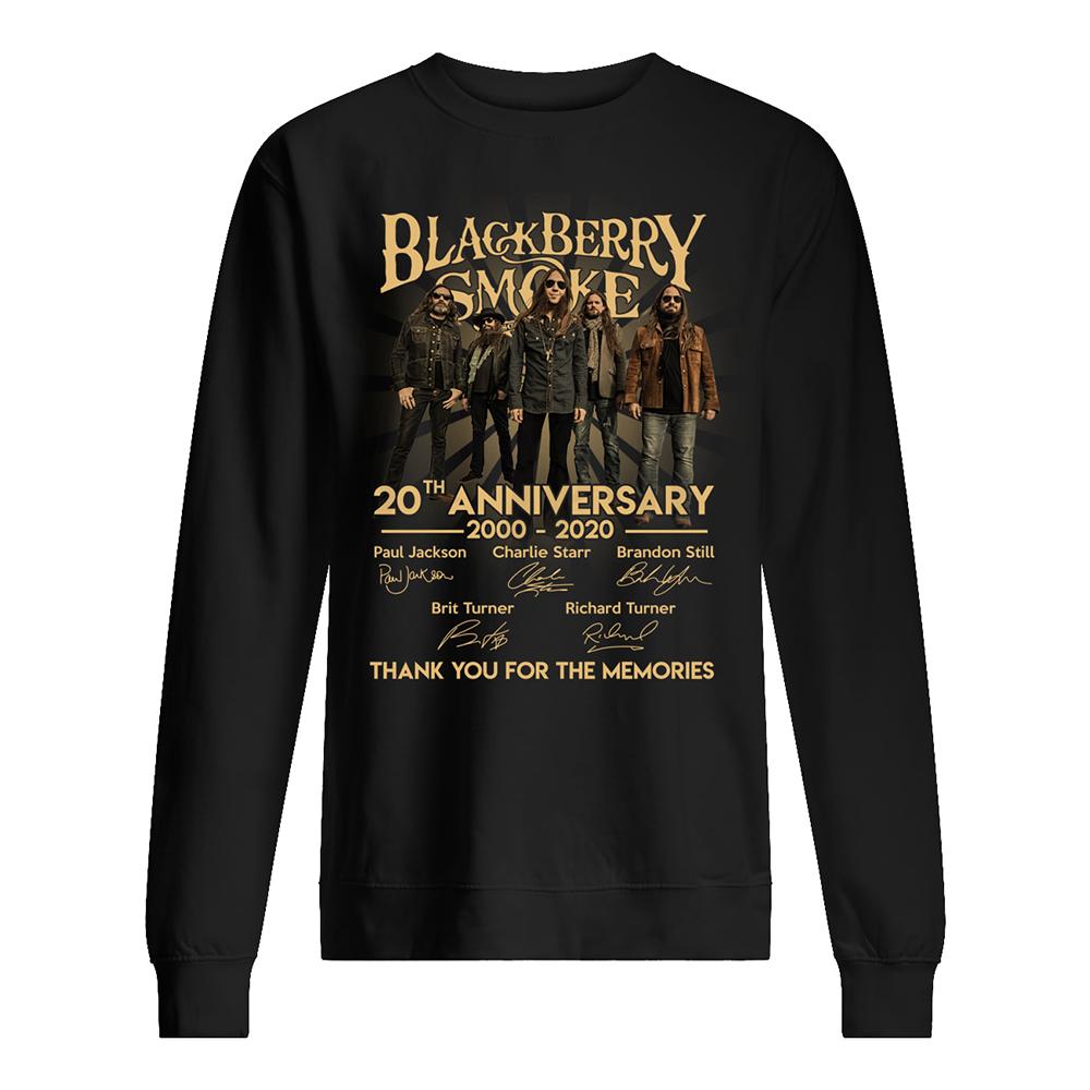 Blackberry smoke 20th anniversary 2000-2020 signatures sweatshirt