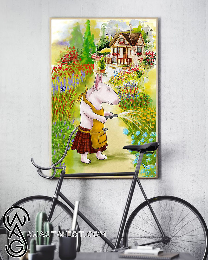 Bull terrier puppy and the garden poster