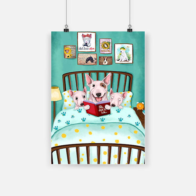 Bull terrier reading book poster 4