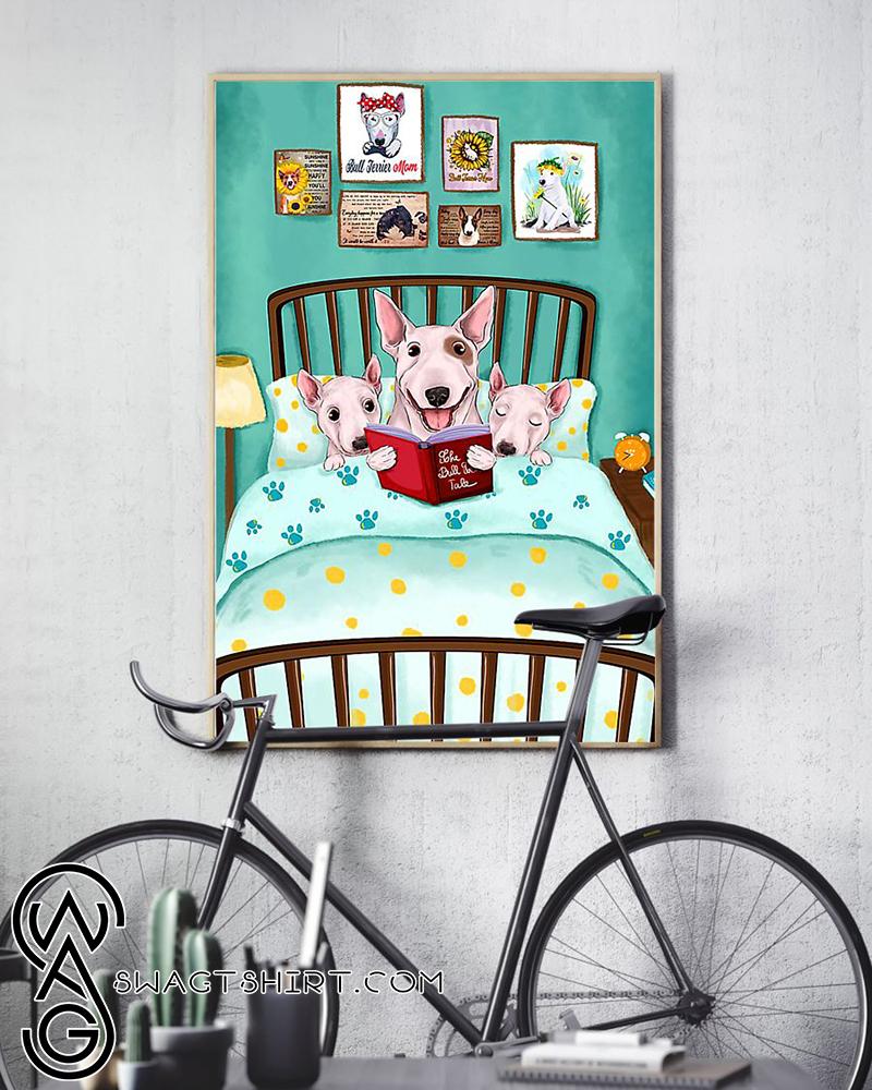 Bull terrier reading book poster
