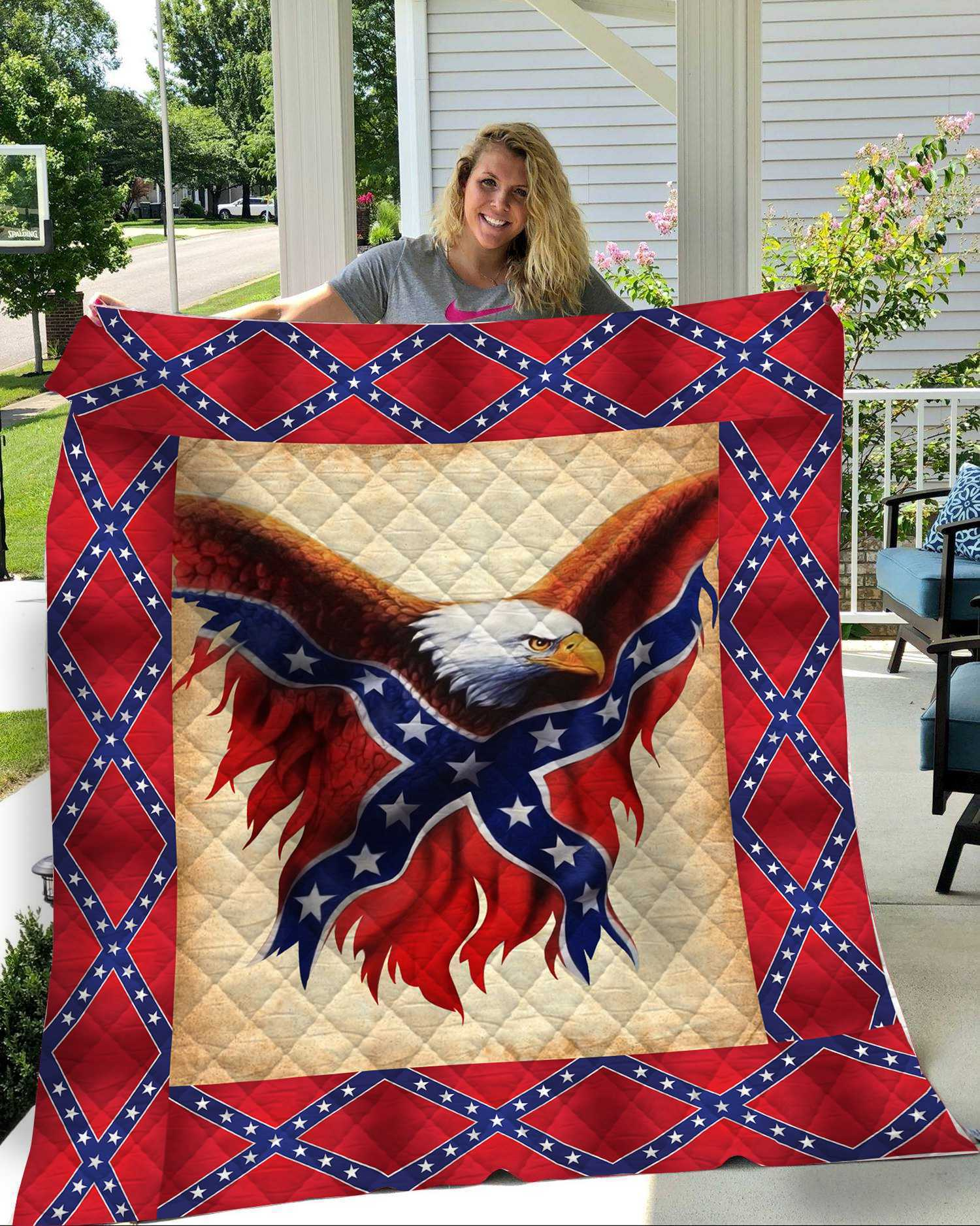 Confederate flag eagle all over printed quilt 1