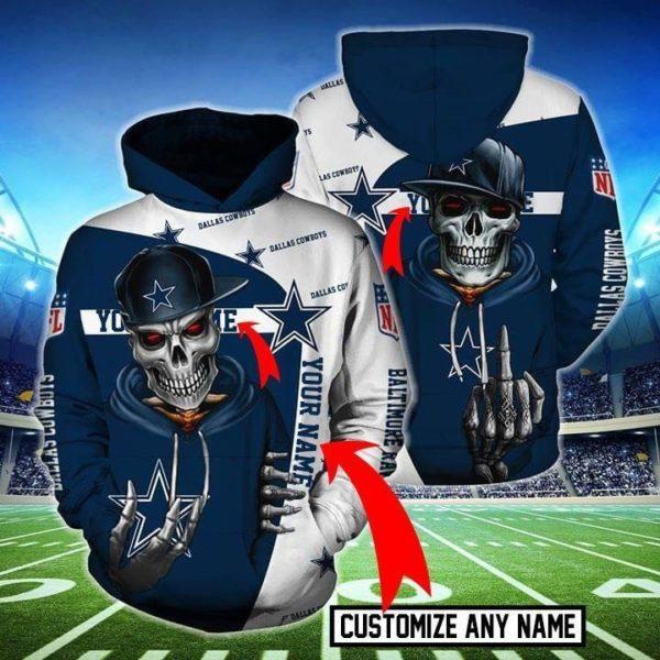 Death skull dallas cowboys all over print hoodie 2
