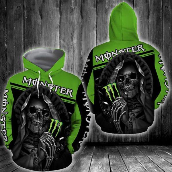 Death skull monster energy full printing hoodie