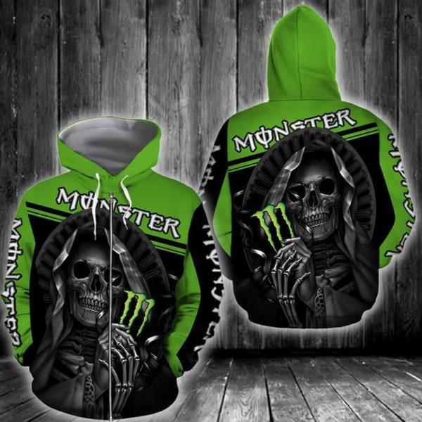 Death skull monster energy full printing zip hoodie