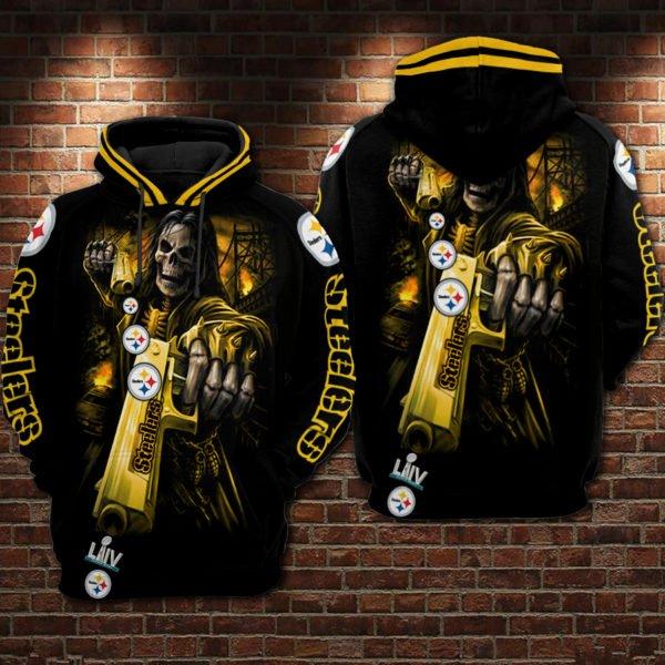 Death skull pittsburgh steelers super bowl all over print hoodie