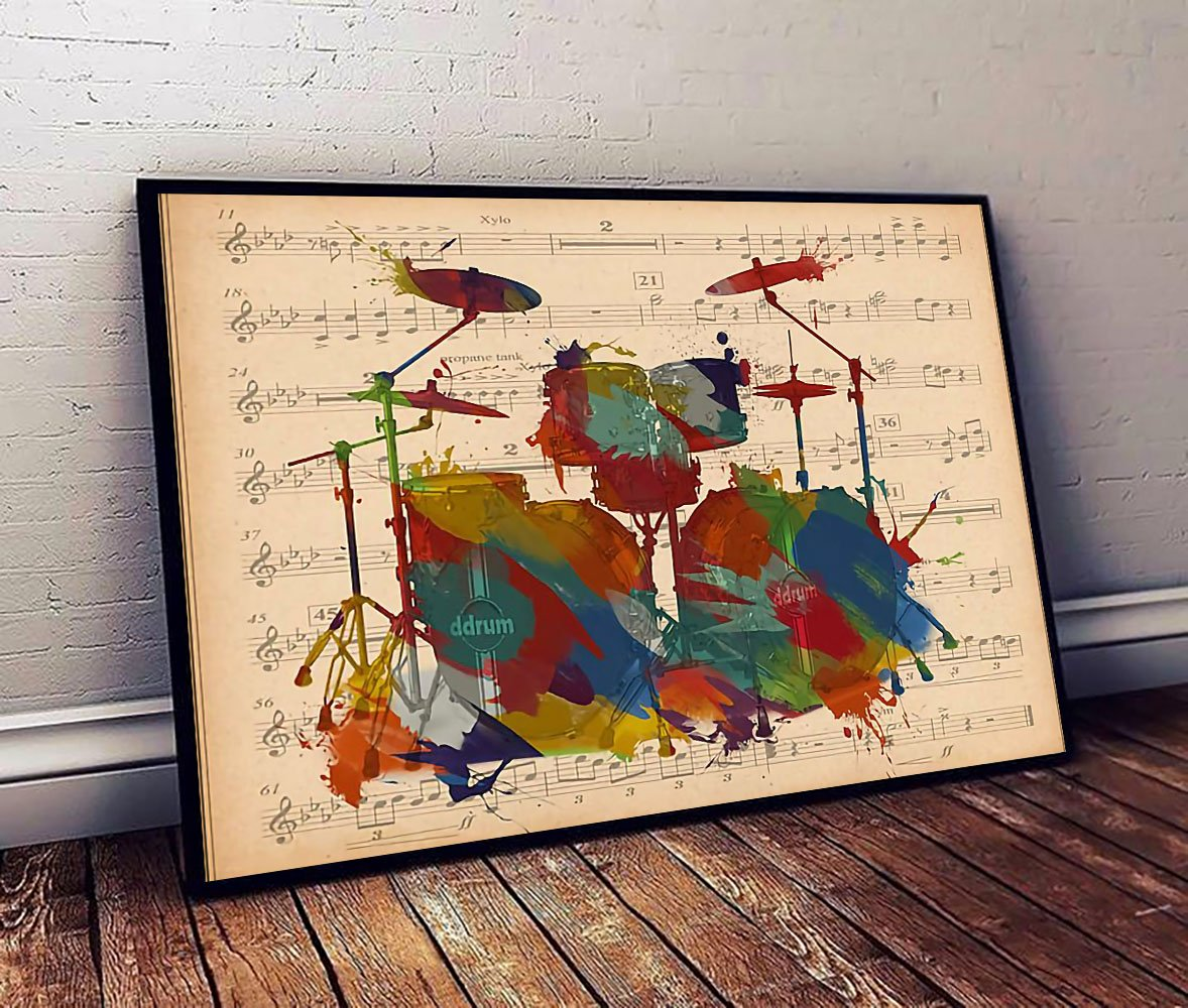 Drums music sheet drums watercolor poster 1