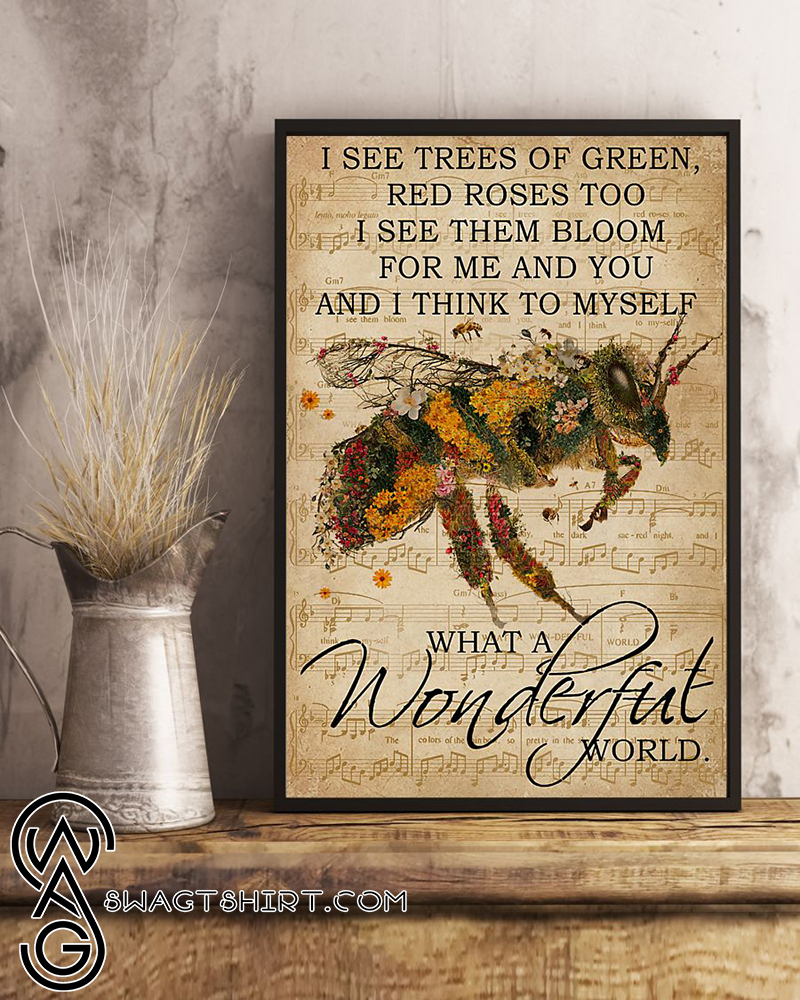 Floral music sheet bee i see trees of green poster