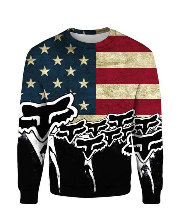 Fox racing american flag full printing sweatshirt
