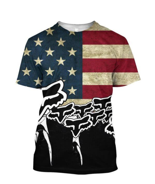 Fox racing american flag full printing tshirt
