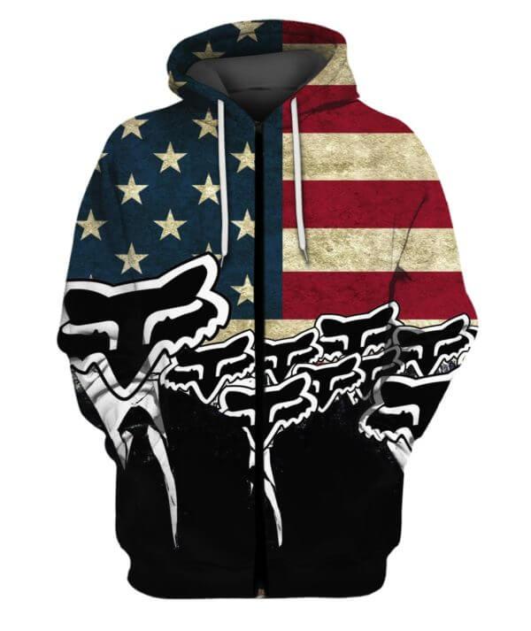 Fox racing american flag full printing zip hoodie