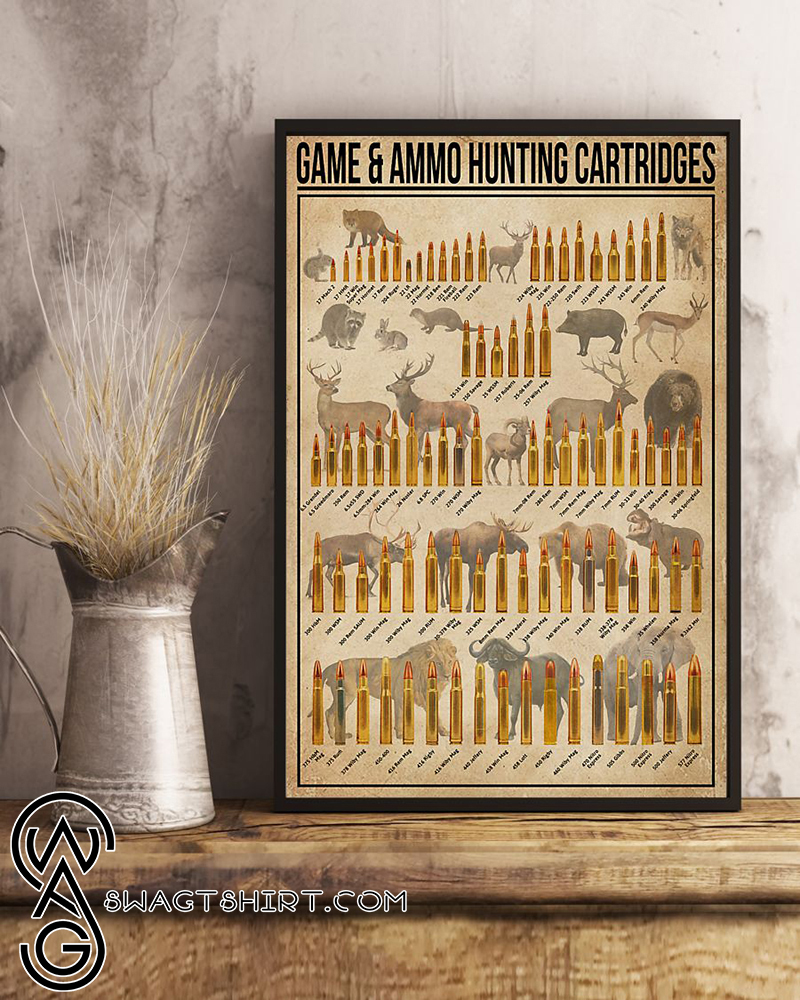 Game and ammo hunting cartridges poster