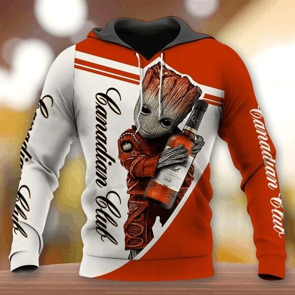 Groot hold canadian club full printing hoodie